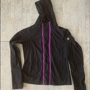 Lululemon Double ZIP Hooded Jacket Sz 8 Black Rare